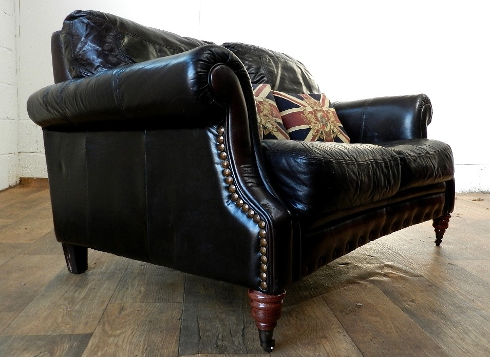 F50 1030 antique style cigar brown distressed stud 2 seat for Brown leather couch with studs
