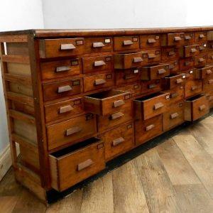 Large Art Deco Bank Of 44 Oak Drawers Folio 50 Stourport Antique Furniture