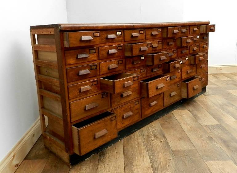 LARGE ART DECO BANK OF 44 OAK DRAWERS - Folio 50 ...