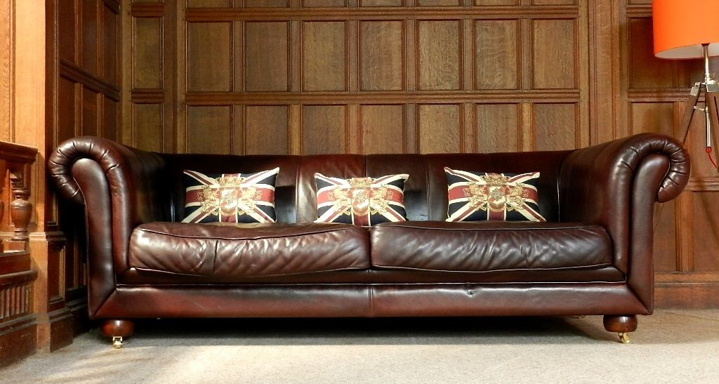 F50 1000 Cigar Brown Chesterfield Style 3/4 Seat Sofa