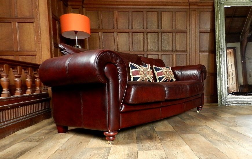 Awesome Chesterfield Oxblood Sofa #16 - F50 1041 VICTORIAN STYLE OXBLOOD RED ANTIQUE LEATHER CHESTERFIELD 3/4  SEATER CLUB SOFA