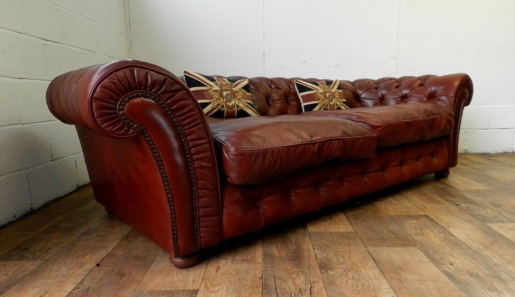 F50 1042 Victorian Style Tetrad Grand Blenheim Chestnut Brown Leather Chesterfield Sofa Folio