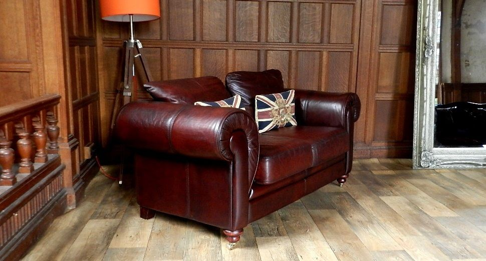 F50 1040 VICTORIAN STYLE OXBLOOD RED ANTIQUE LEATHER CHESTERFIELD 2 SEATER  CLUB SOFA