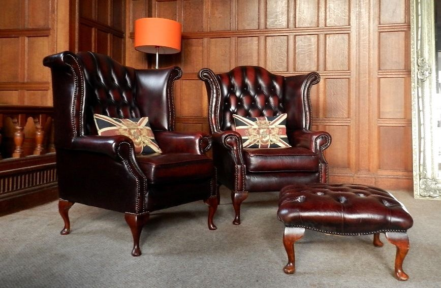 F50 1046 Pair Of Victorian Style Oxblood Red Leather Chesterfield