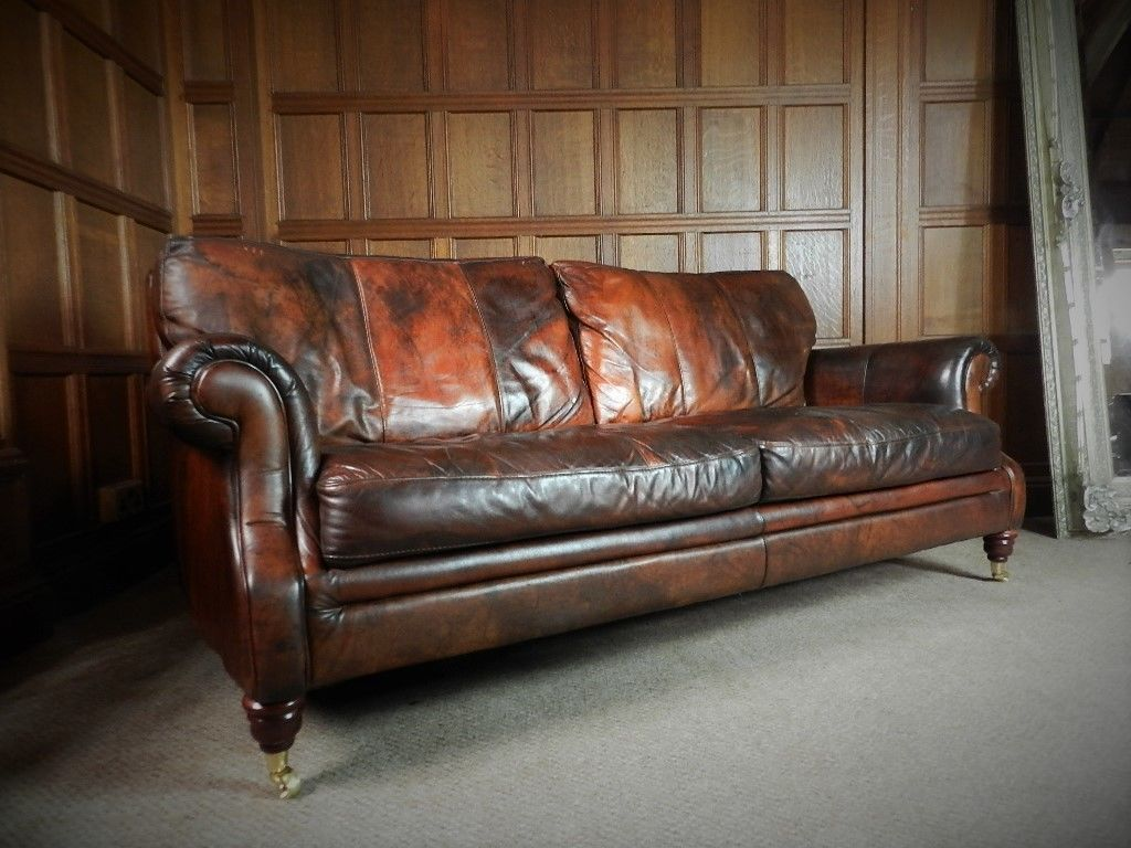 F50 1066 Victorian Style Cigar Brown Leather Chesterfield Suite 3  ~ Chesterfield Brown Sofa