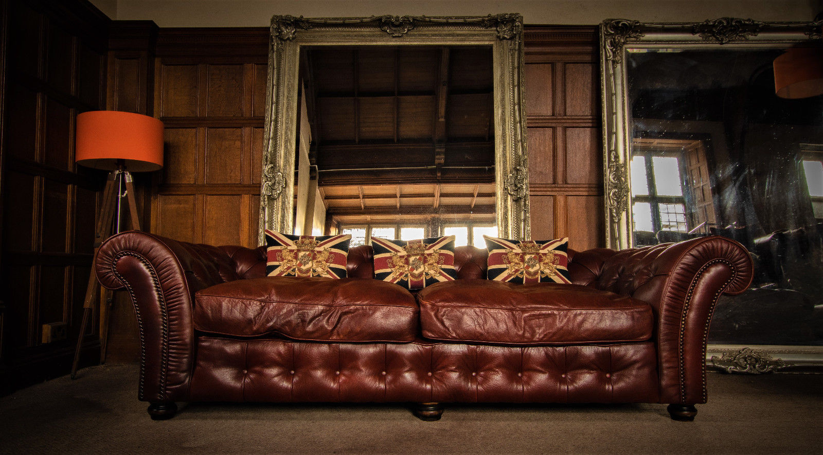 F50 1150 TETRAD GRAND BLENHEIM ANTIQUE CHESTNUT LEATHER CHESTERFIELD 4 SEATER CLUB SOFA