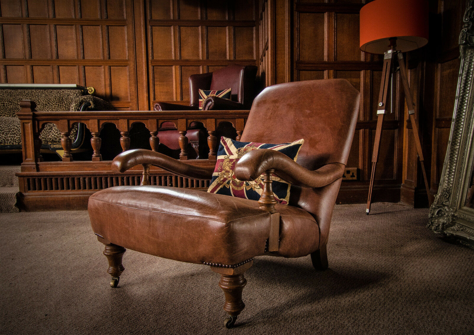 F50-1198 JOHN SANKEY BYRON ANTIQUE TAN BROWN HOWARD LEATHER CLUB LIBRARY  STEAMER ARMCHAIR