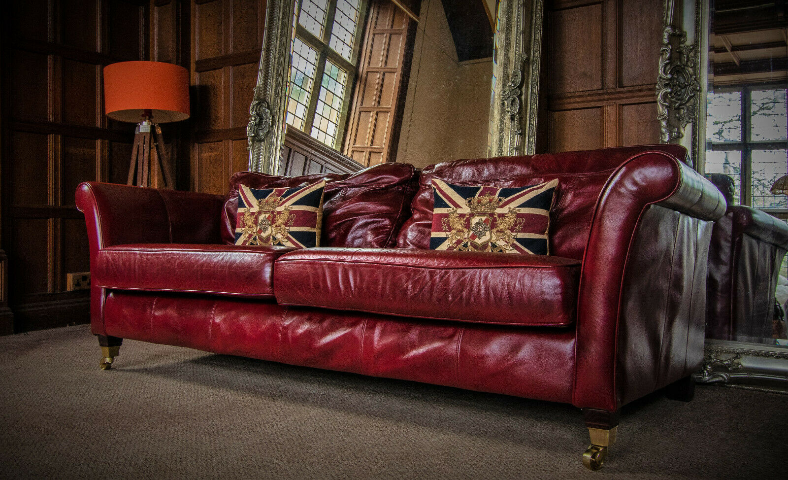 F50 1247 Victorian Style Brandy Tan Red Antique Leather