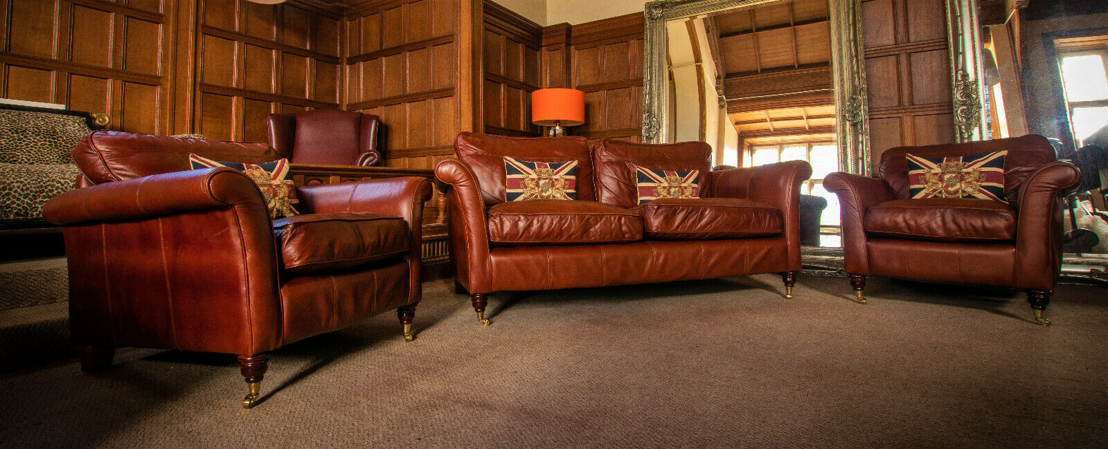 F50 1270 Victorian Style Brandy Antique Tan Leather Suite