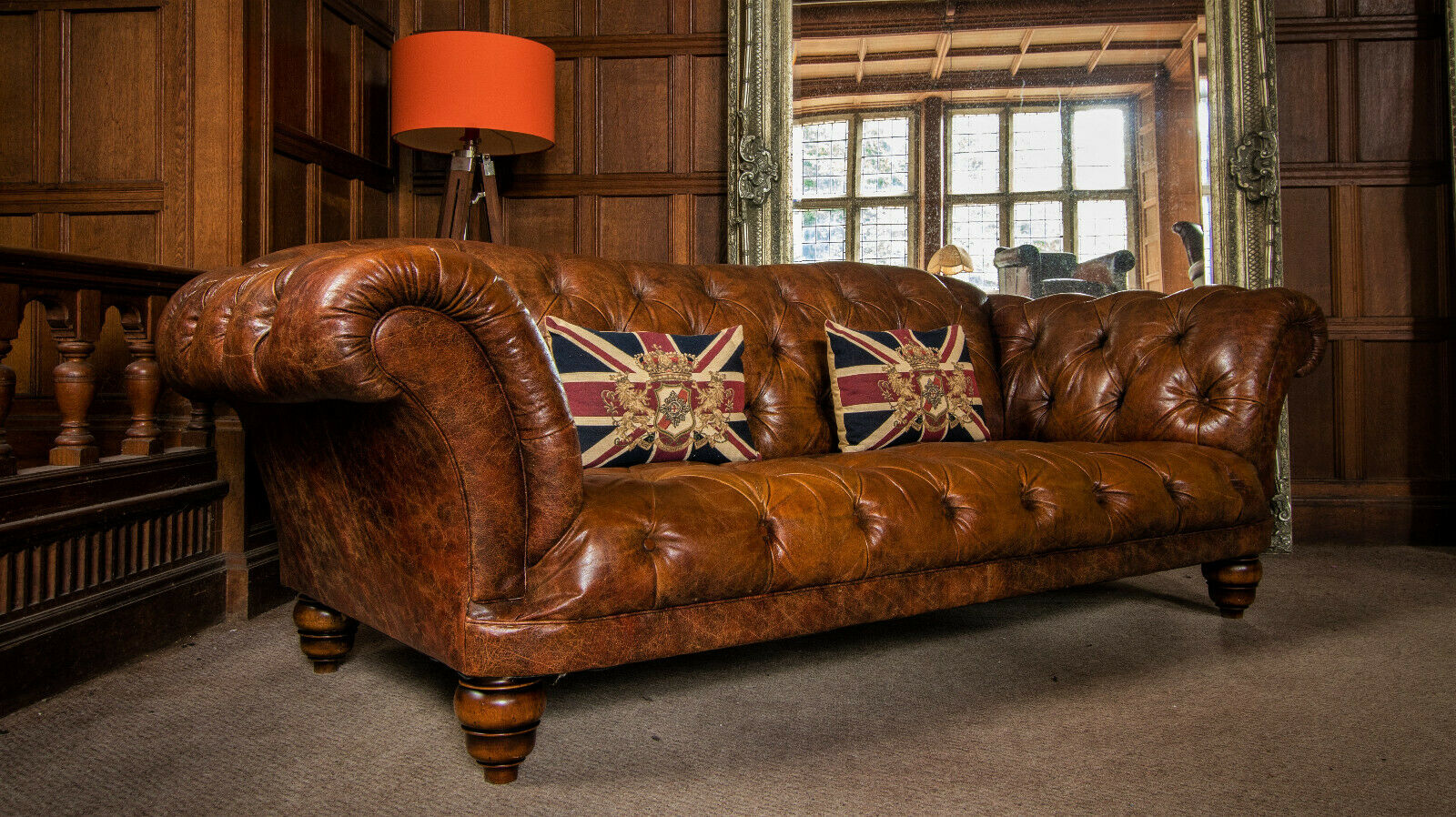 F50 1289 Tetrad Grand Ribchester Distressed Tan Brown Leather Chesterfield 3 4 Seat Sofa