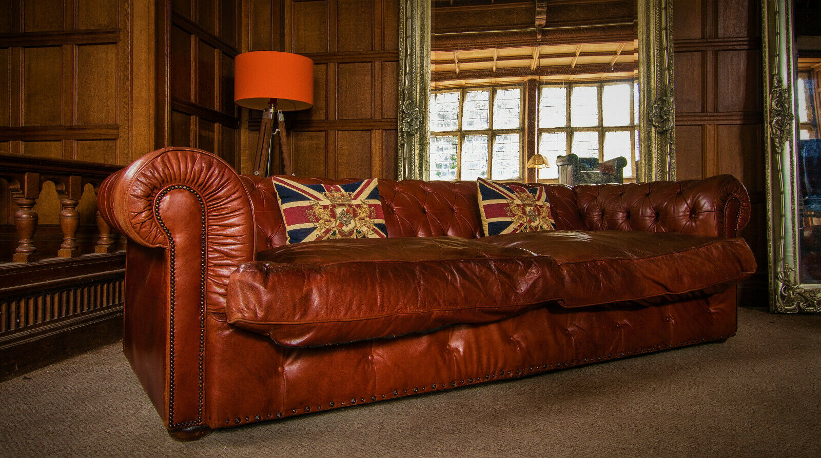 F50 1293 TETRAD GRAND BLENHEIM ANTIQUE CHESTNUT LEATHER CHESTERFIELD 4 SEATER CLUB SOFA